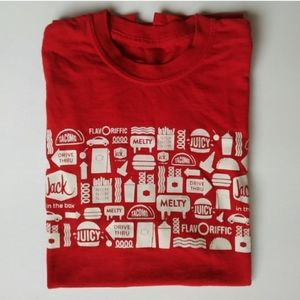 JACK IN THE BOX T SHIRT RED MEDIUM